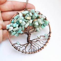 Amazonite tree of life sun catcher, crystal wall hanging.