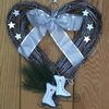 Rattan Heart Wreath with white Ice Skates