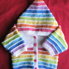 White pastel rainbow striped hooded jacket for baby 0 to 3 months