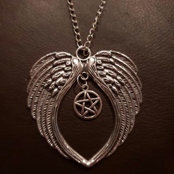 Angel Wings and Pentacle Charm Pendant Silver Necklace