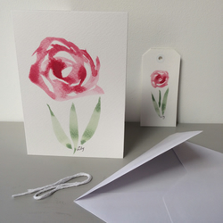 Original watercolour birthday card and matching gift tag