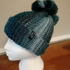 Blue Crochet Mohican Hat