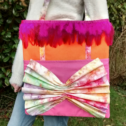 Trendy, Multicoloured Tie-Dye Handmade Tote Bag, Shoulder Bag