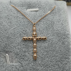 Rose Gold Plated Sterling Silver Cross Pendant Necklace