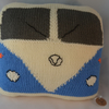 Blue Knitted Camper Van Cushion, camping, personalised