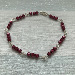 Damson pink preciosa glass pearl beads and wire handmade bracelet