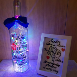 A MOTHER IS LIKE A FLOWER LED Light Up Keepsake Bottle