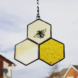 Honeycomb and painted bee stained glass suncatcher