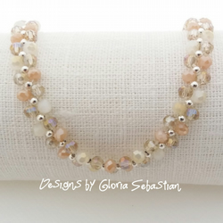 Peach and cream round crystal bracelet