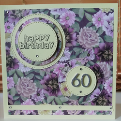 Handmade lemon and lilac floral 60th birthday card.