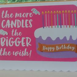 Birthday cake & candles card for her