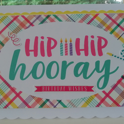 Hip hip hooray it's your birthday card, with plaid & streamers