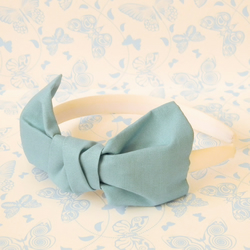 Blue Cotton Bow Hairband