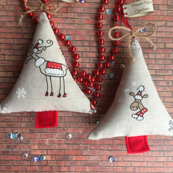 Pair of Handmade Christmas tree decorations reindeer fabric decoration
