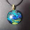 Multicoloured Round Pendant Necklace on Black Waxed Cord