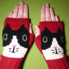 Knitted Cat Fingerless Gloves