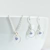 Tanzanite with Sterling Silver Slim Circle Pendant Necklace