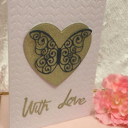 Embellished Heart Butterfly Embossed Greeting Card Blank Inside