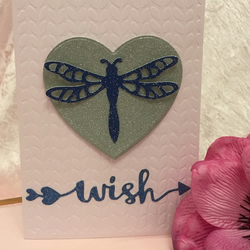 Dragonfly Wish Heart Embellished & Embossed Birthday Greeting Card