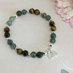 Tigers Eye and Moss Agate Elasticated Sterling Silver Hedgehog Bracelet