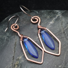 Hammered Copper Wire Earrings with Blue Dagger Beads