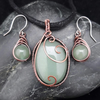 Copper Wire Weave Wrapped Green Aventurine Pendant & Matching Earrings