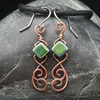 Hammered Copper Wire Earrings with Green Iridescent Tile Beads