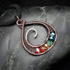 Copper Wire Weave Rainbow Spiral Drop Pendant