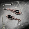 Copper Wire Wrapped Drop Earrings with Faceted Black Glass Beads