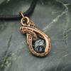 Copper Wire Weave Wrapped Snowflake Obsidian Pendant