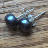 Gorgeous black freshwater pearl and silver stud earrings FREE UK DELIVERY