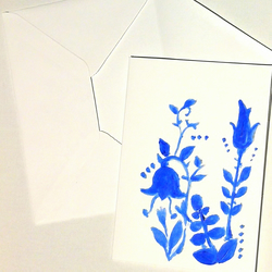 Hand Painted Greeting Card Folk - blue flowers