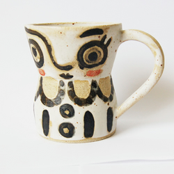 Picasso inspired ceramic mug. Pottery mug handpainted face. Unusual gift