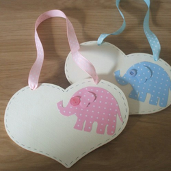 Pink or Blue Personalised Elephant Heart Door Hanger