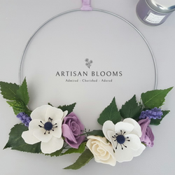 Contemporary Artisan Blooms Felt Flower Wreath - 100% Wool Felt