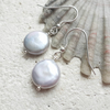 Silver Grey Coin Pearl Earrings with Sterling Silver Hooks