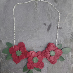 Red Leather Flower Statement Bib Necklace on Silver Plated Chain Boho Style